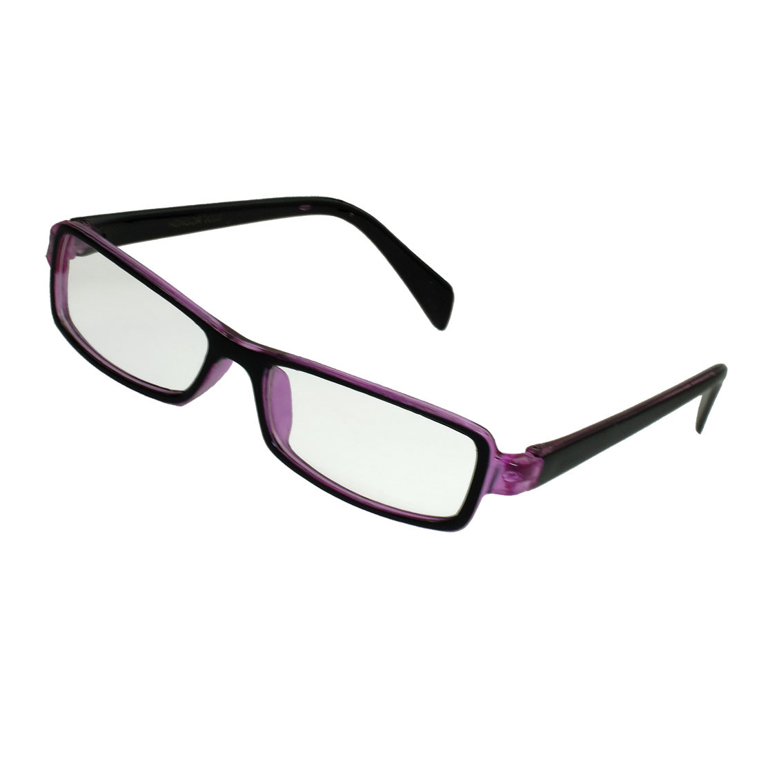 Black Purple Frame Full Rim Clear Lens Plano Glasses Spectacles Women Men