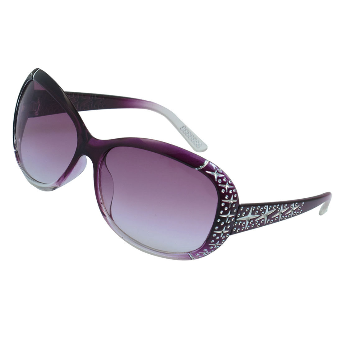 Ladies Rhinestone Decor Lens Purple Full Rim Sunglasses Eyewear