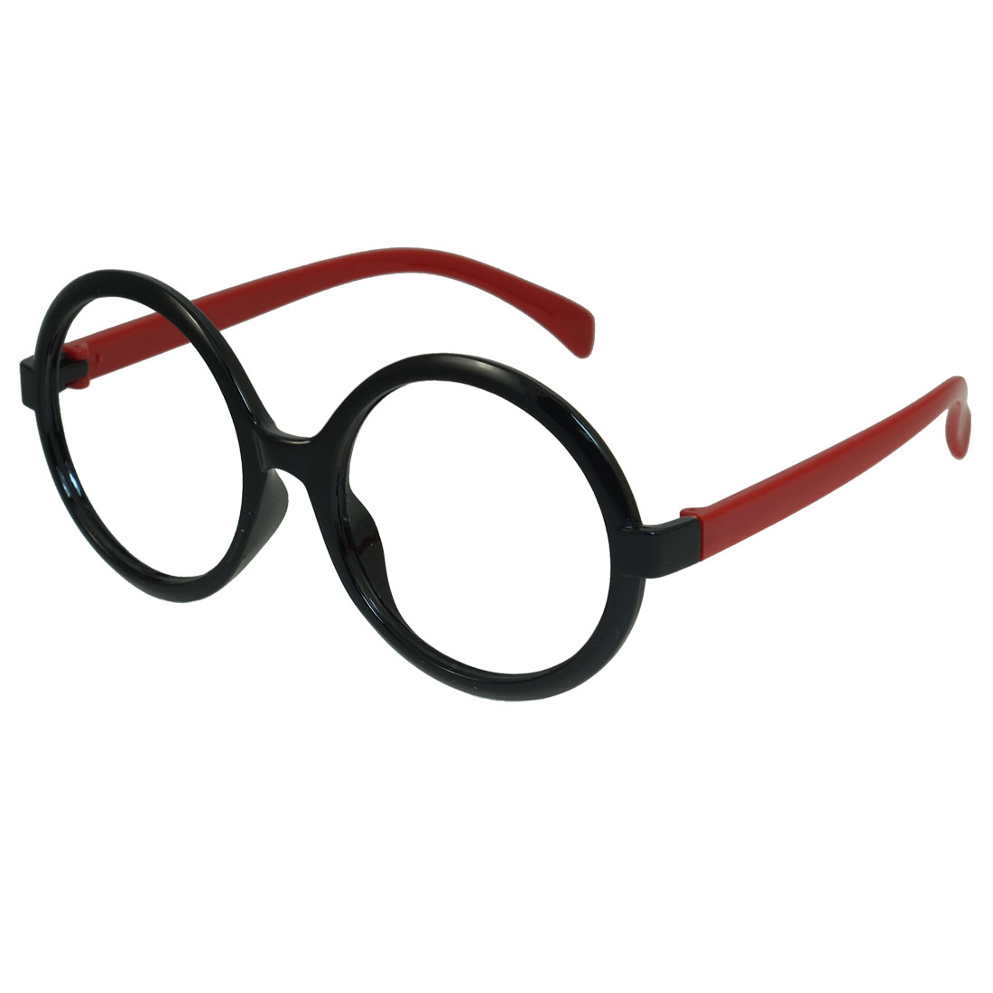 Red Plastic Arm Full Rim Round Shaped Spectacles Glasses Eyeglasses Frame