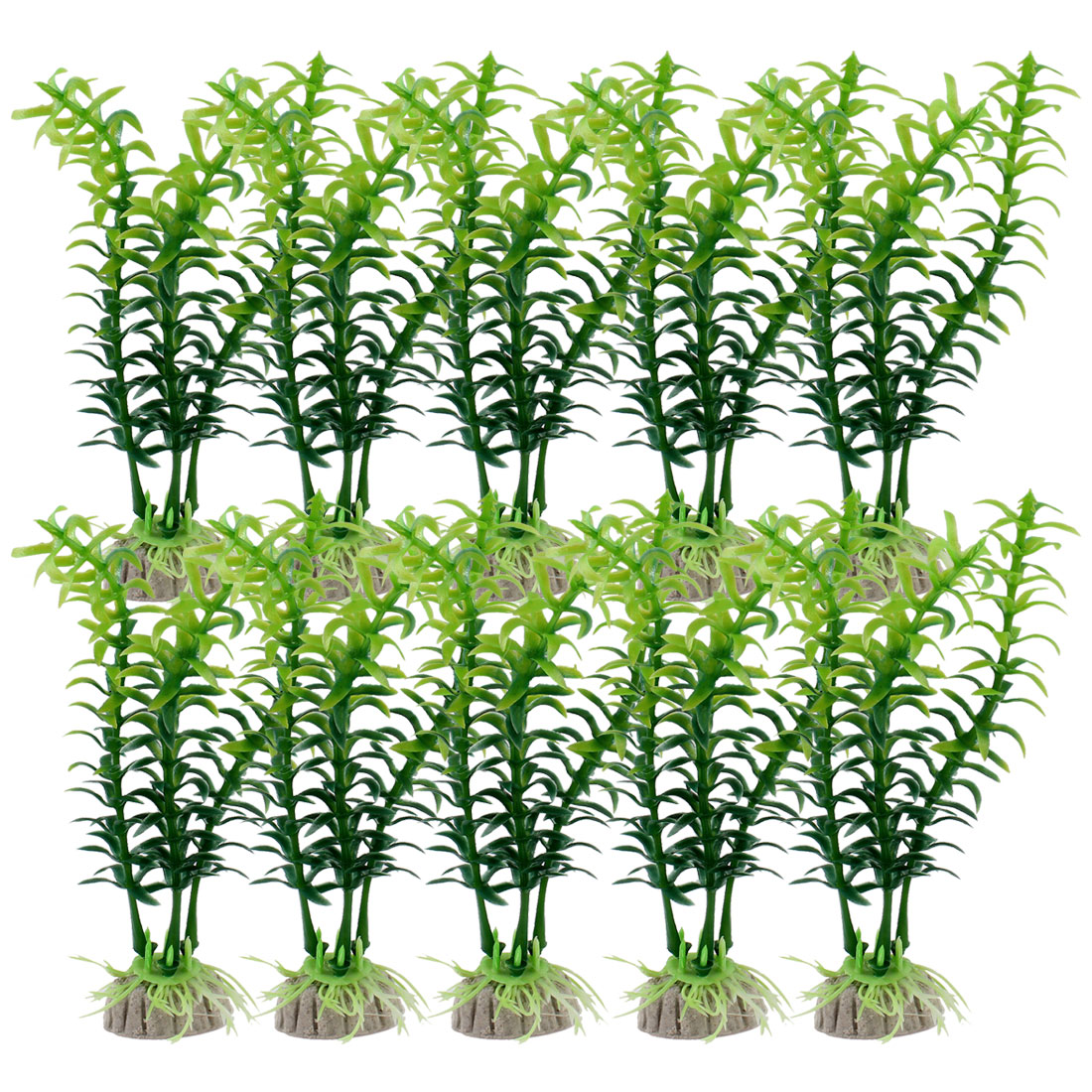 "Fish Tank Aquarium Landscaping 5"" Plastic Underwater Plant Green White 10 Pcs"