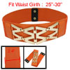 Lady Costume Press Stud Button Elastic Waist Band Cinch Belt Orange