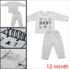 Infant Cute Cartoon Prints Light Gray 12 mo. Two Piece Set Allegra Baby