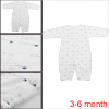 Infant Round Neck Long Sleeve White 3-6 mo. Button Up Gowns Allegra Baby