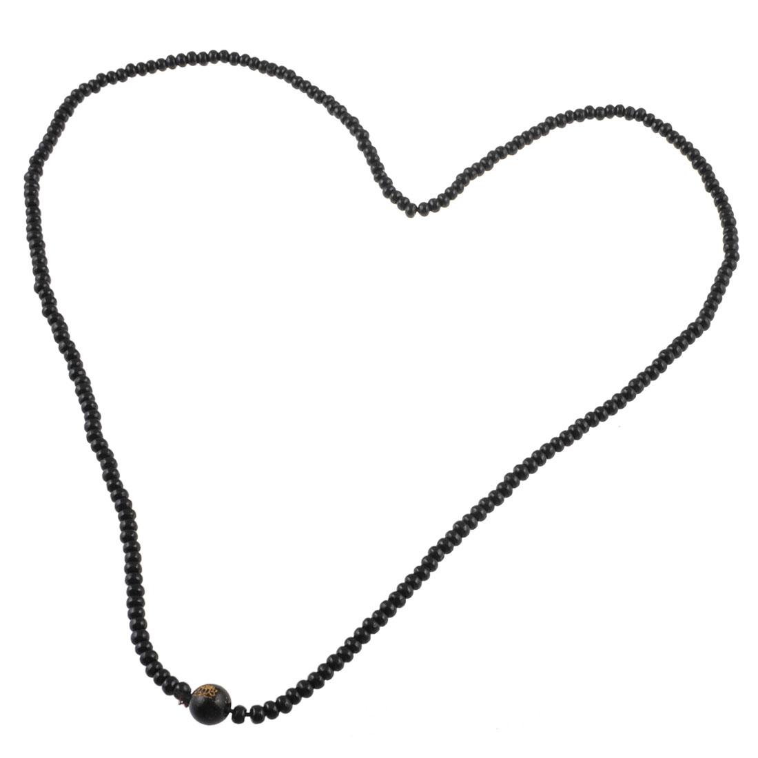 Unisex Wooden 216 Bead Buddhist Prayer Buddha Necklace Black 23.6 Inch Girth