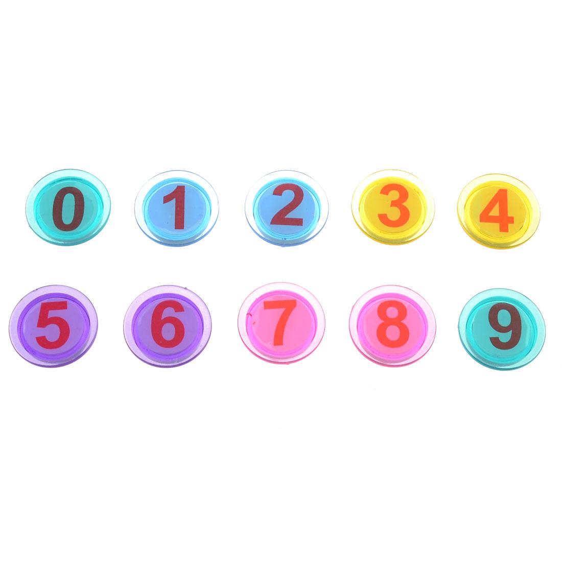 10 Pcs Multicolor 30mm Dia 0-9 Arabic Number Round Refrigerator Fridge Magnets