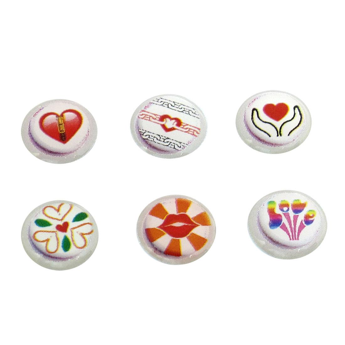 6 Pcs Red Lip Hearts Print Home Button Sticker