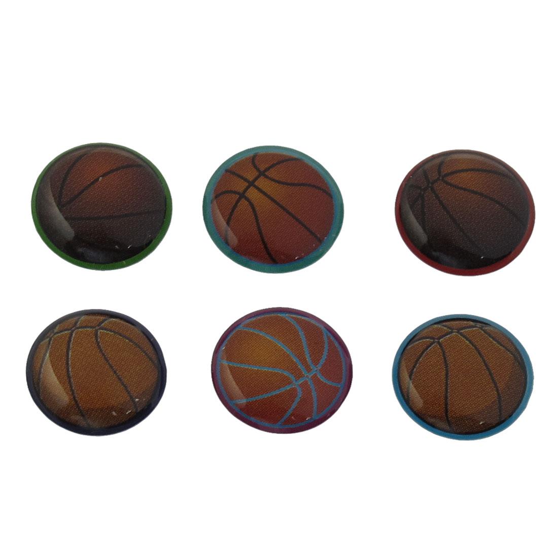 6 Pcs Brown Black Basketball Prints Home Button Sticker