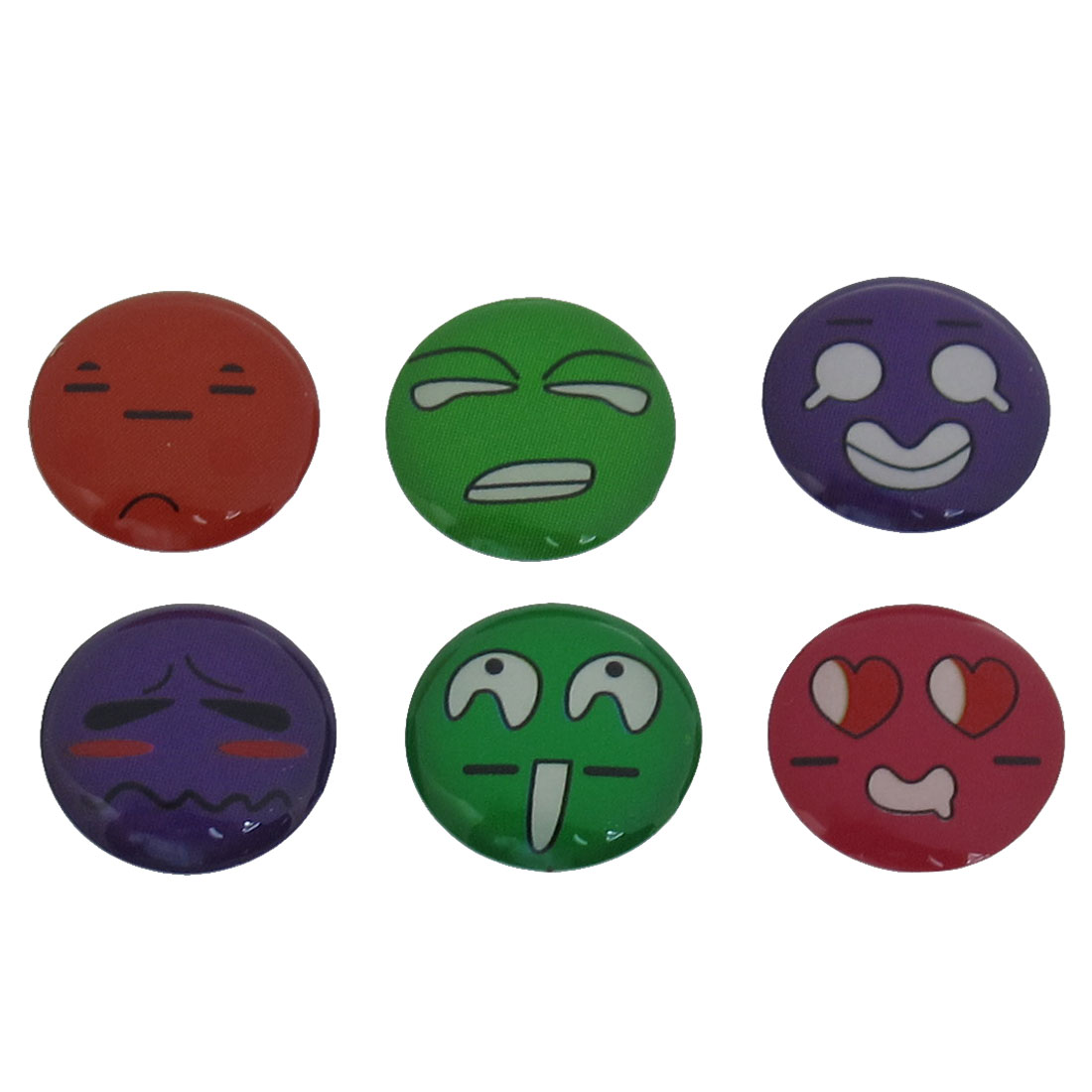 6 in 1 Purple Green Lovely Face Home Button Sticker