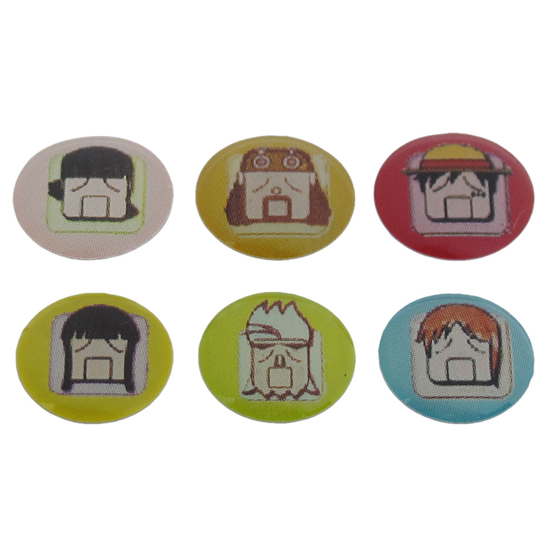 6 in 1 Assorted Plastic Funny Face Home Button Sticker
