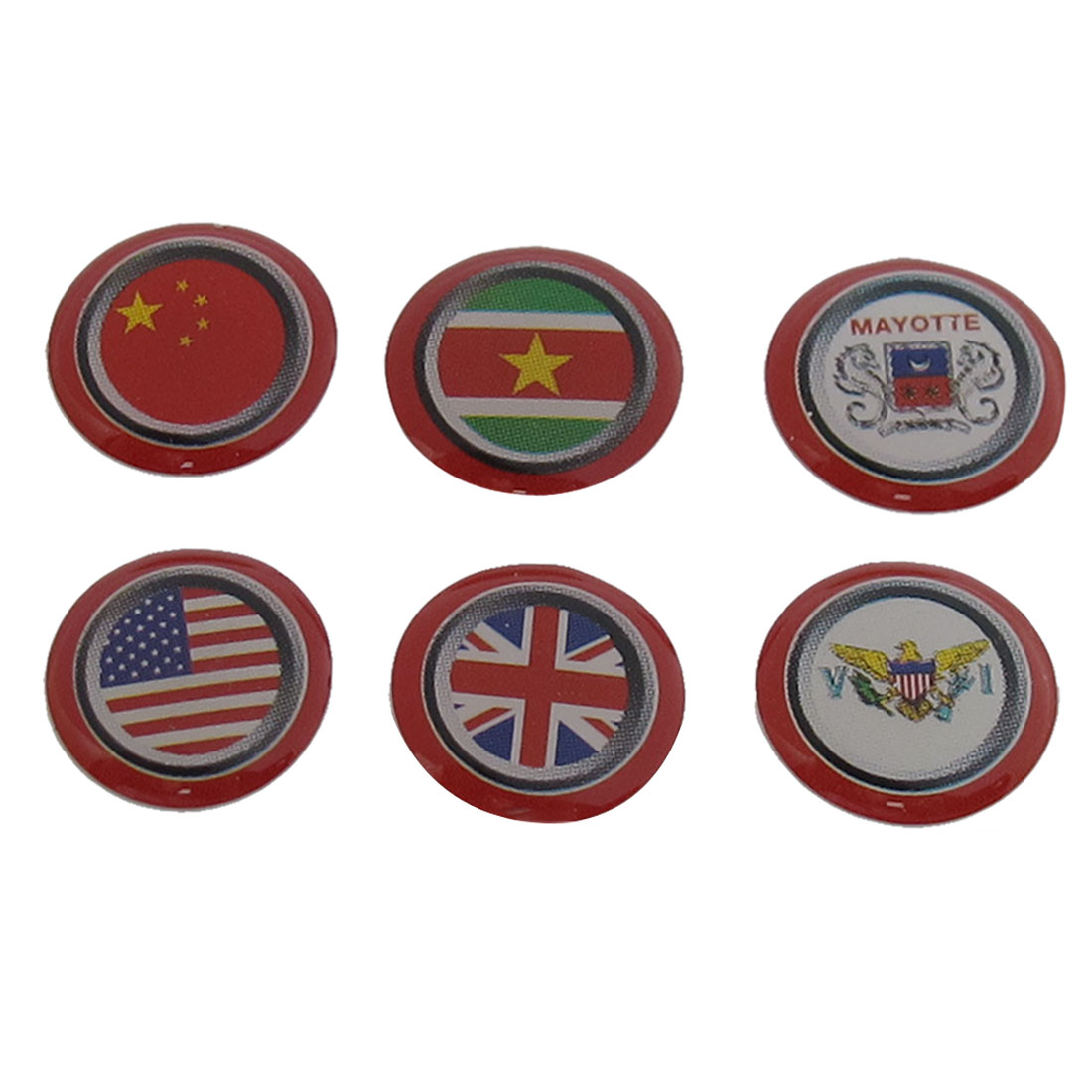 6 in 1 Plastic UK US Mayotte China Flag Home Button Sticker