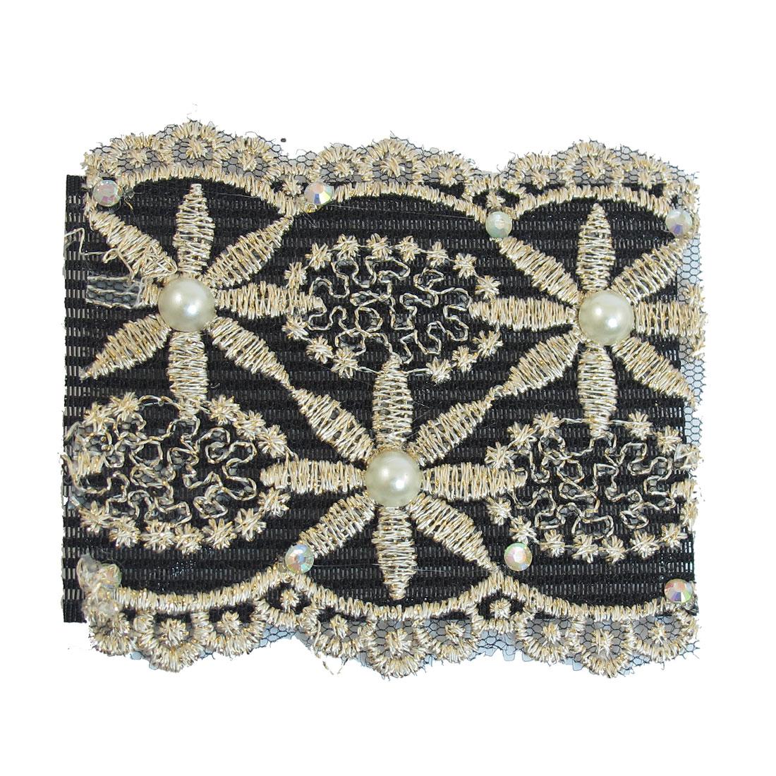 Women Beige Flower Design Beads Inlaid Hair Magic Sheet Fringe Stick Black