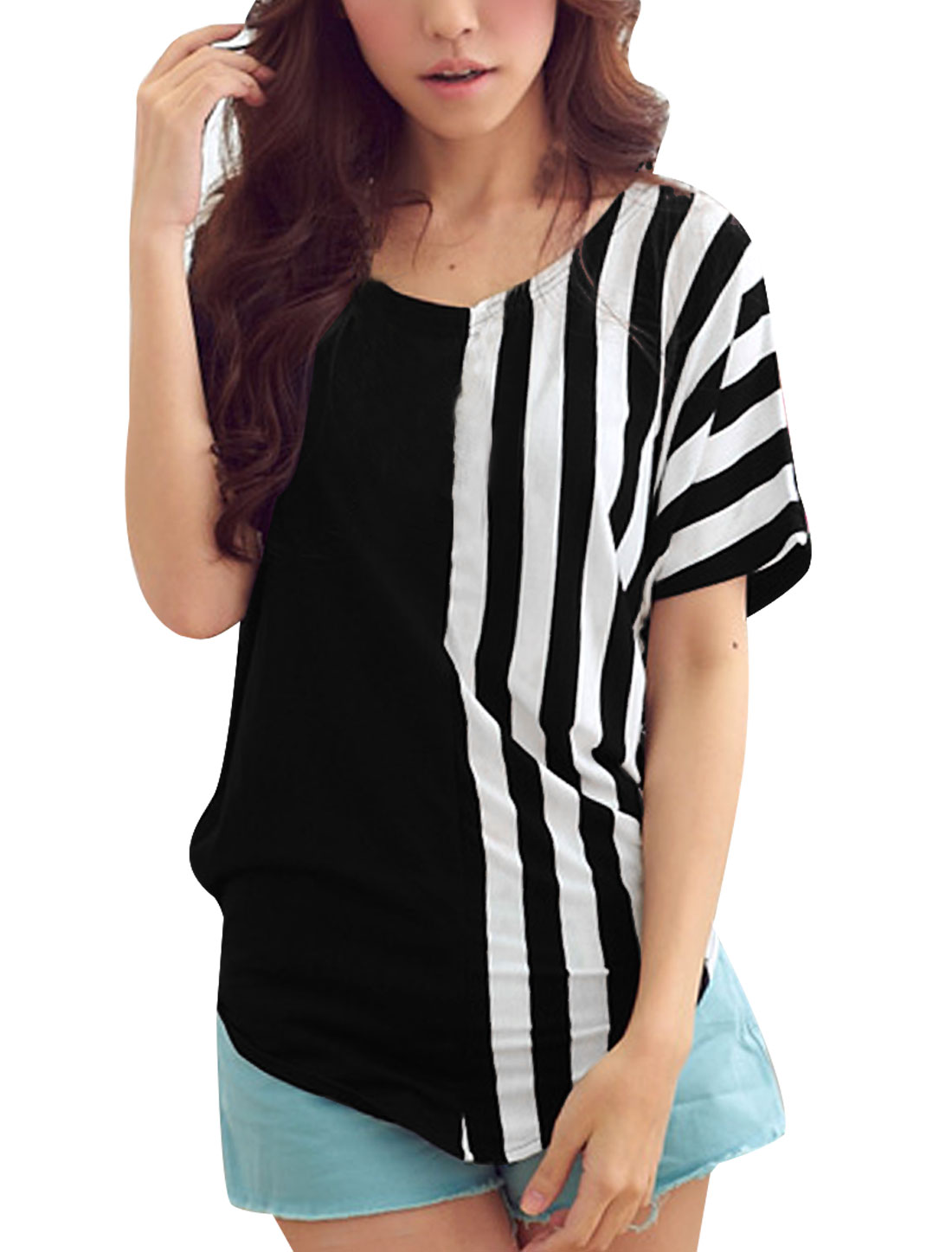 Ladies Black Scoop Neck Contrast Stripes Casual Pullover Tee Shirt S