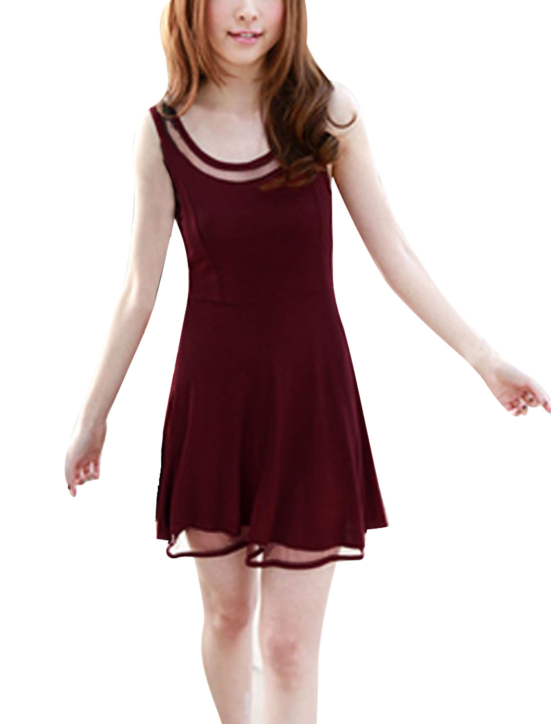 Women Spliced Mesh Semi Sheer Sleeveless Chic Casual Dress Burgundy XS