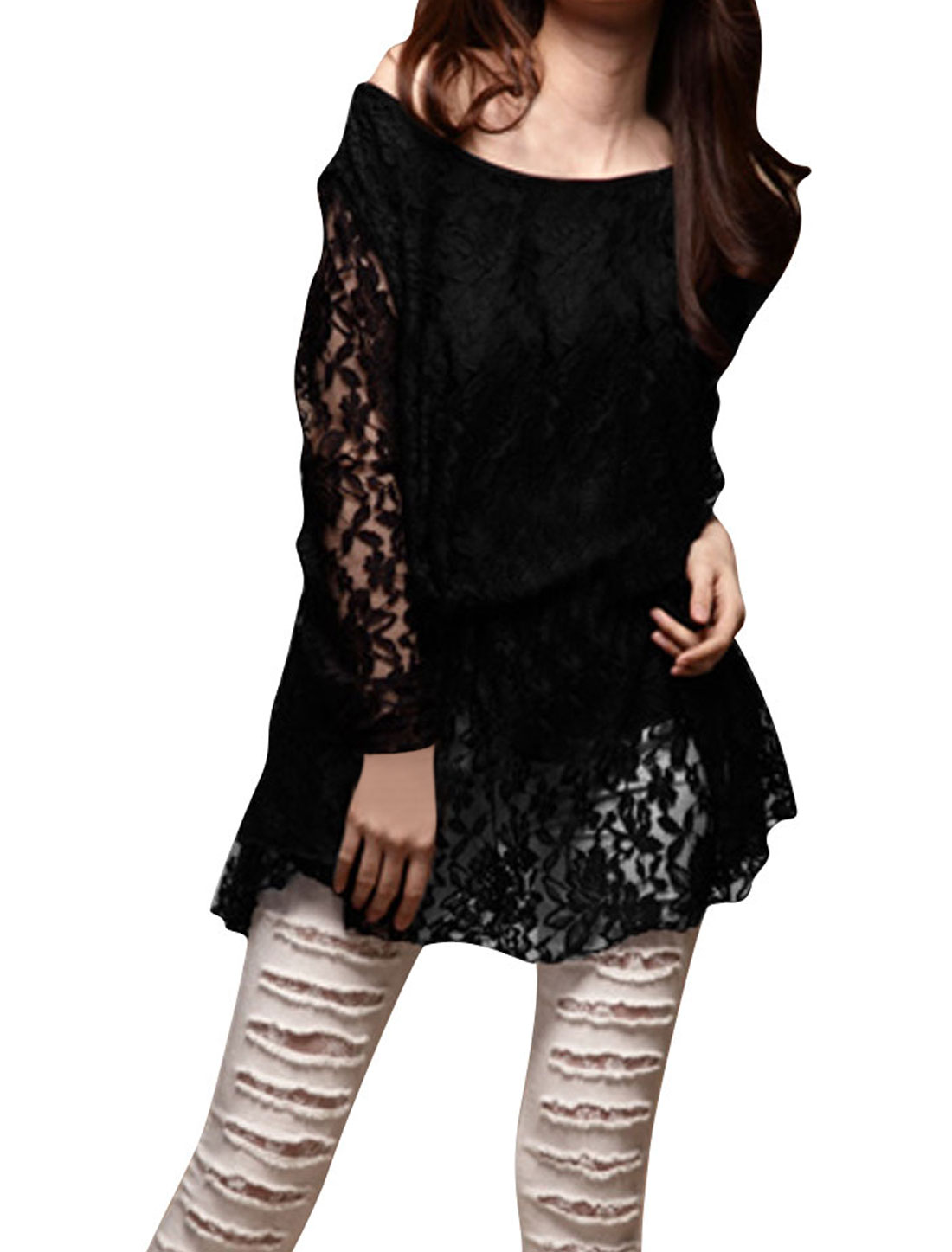 Ladies Black Flower Embroidery Stretchy Pullover Lace Tee Shirt XS