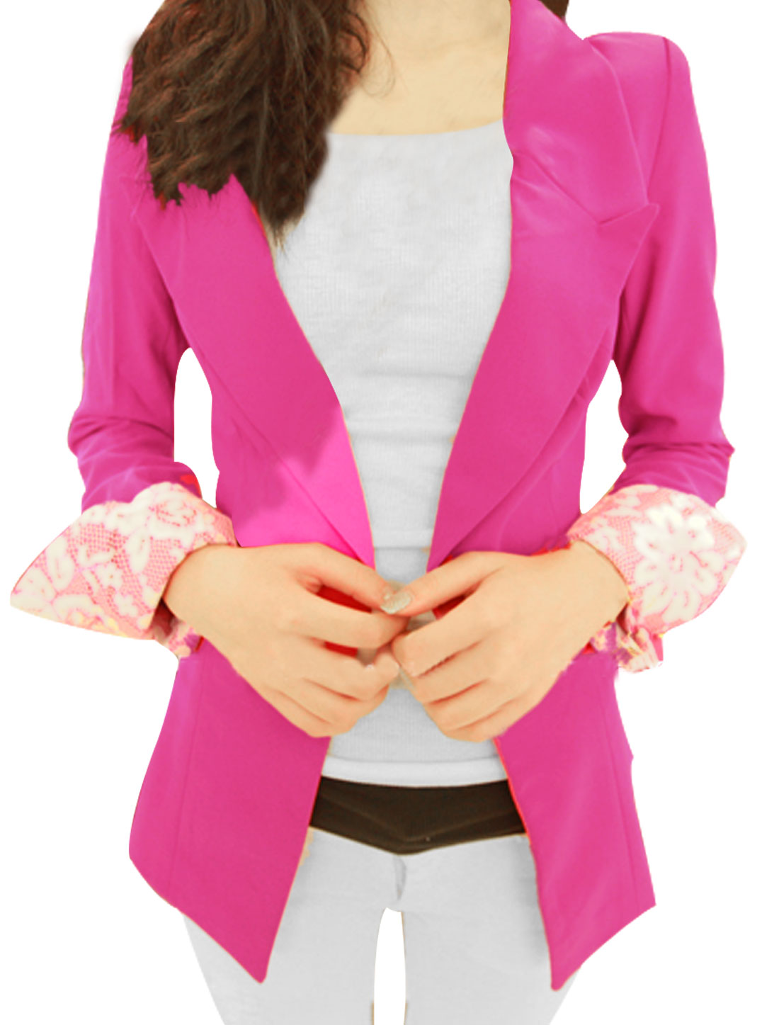 Women Long Sleeves Notched Lapel Button Up Slim Fit Blazer Pink S