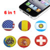 6 Pcs Red Blue Star Stripe Cross Flag Home Button Stickers for Apple iPhone 4 4G 4S 4GS 5 5G