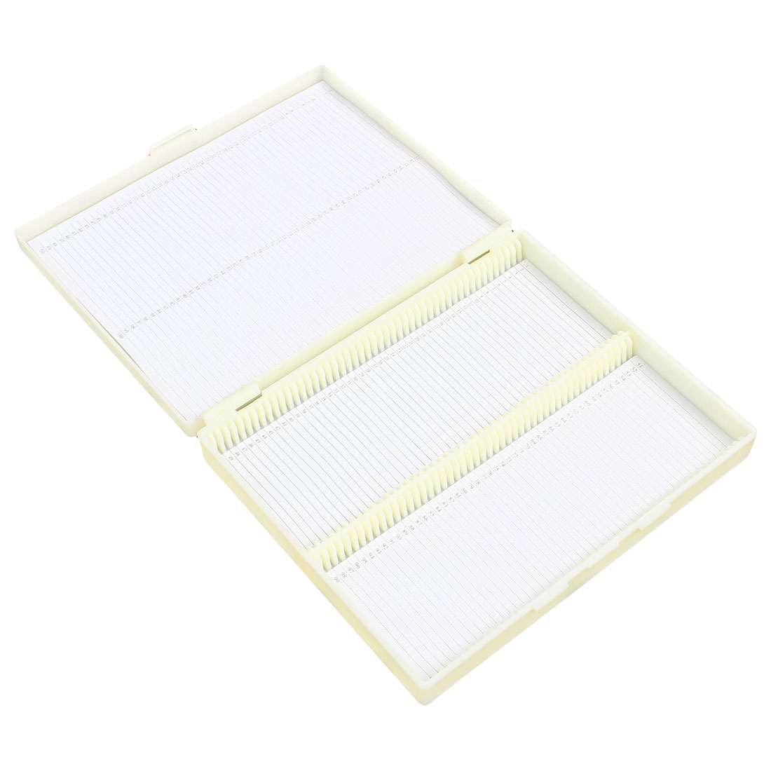 20cm x 16cm Beige Plastic Rectangular 100 Slides Microscope Box