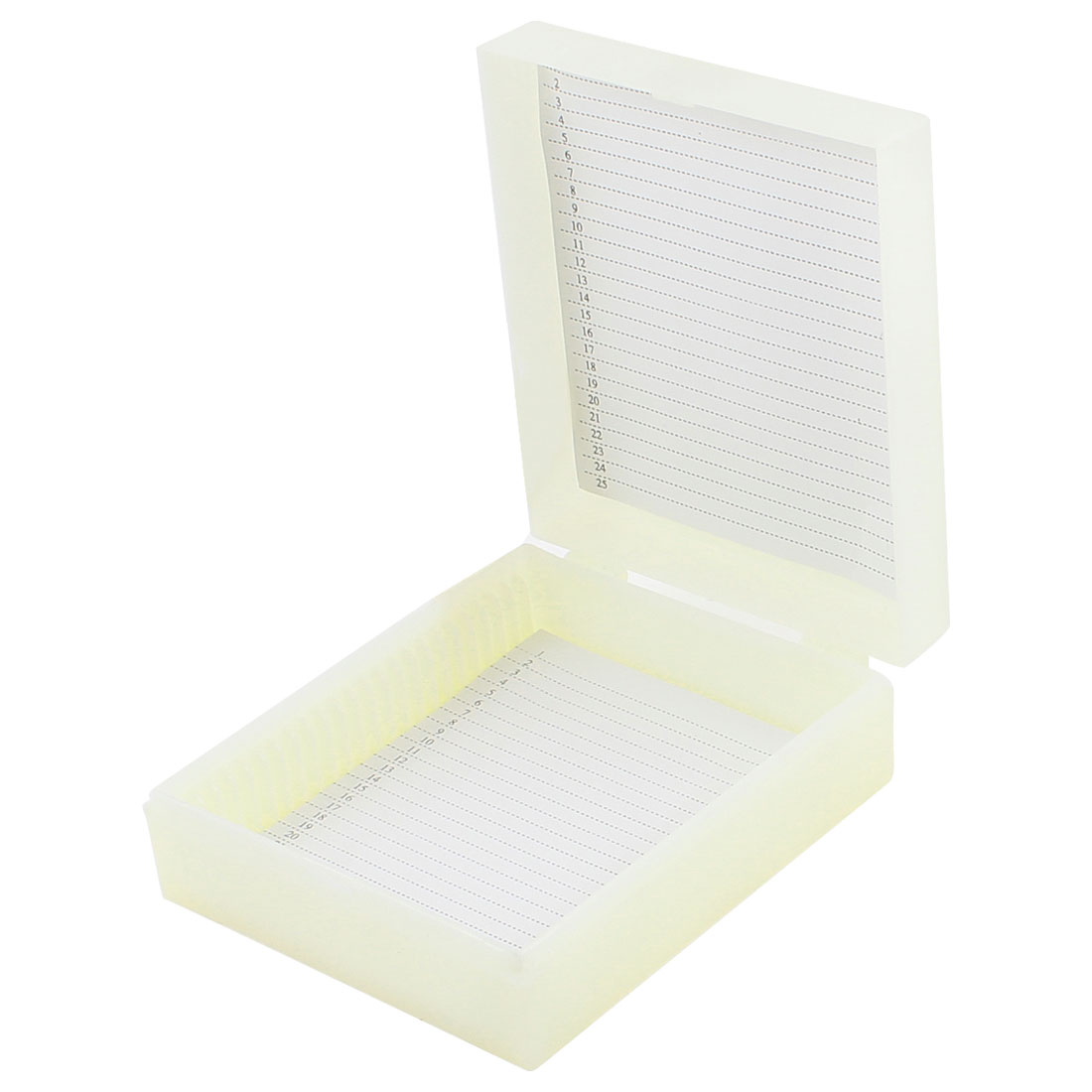 "3.7"" x 3.1"" Beige Plastic Rectangular 25 Slides Microscope Box"