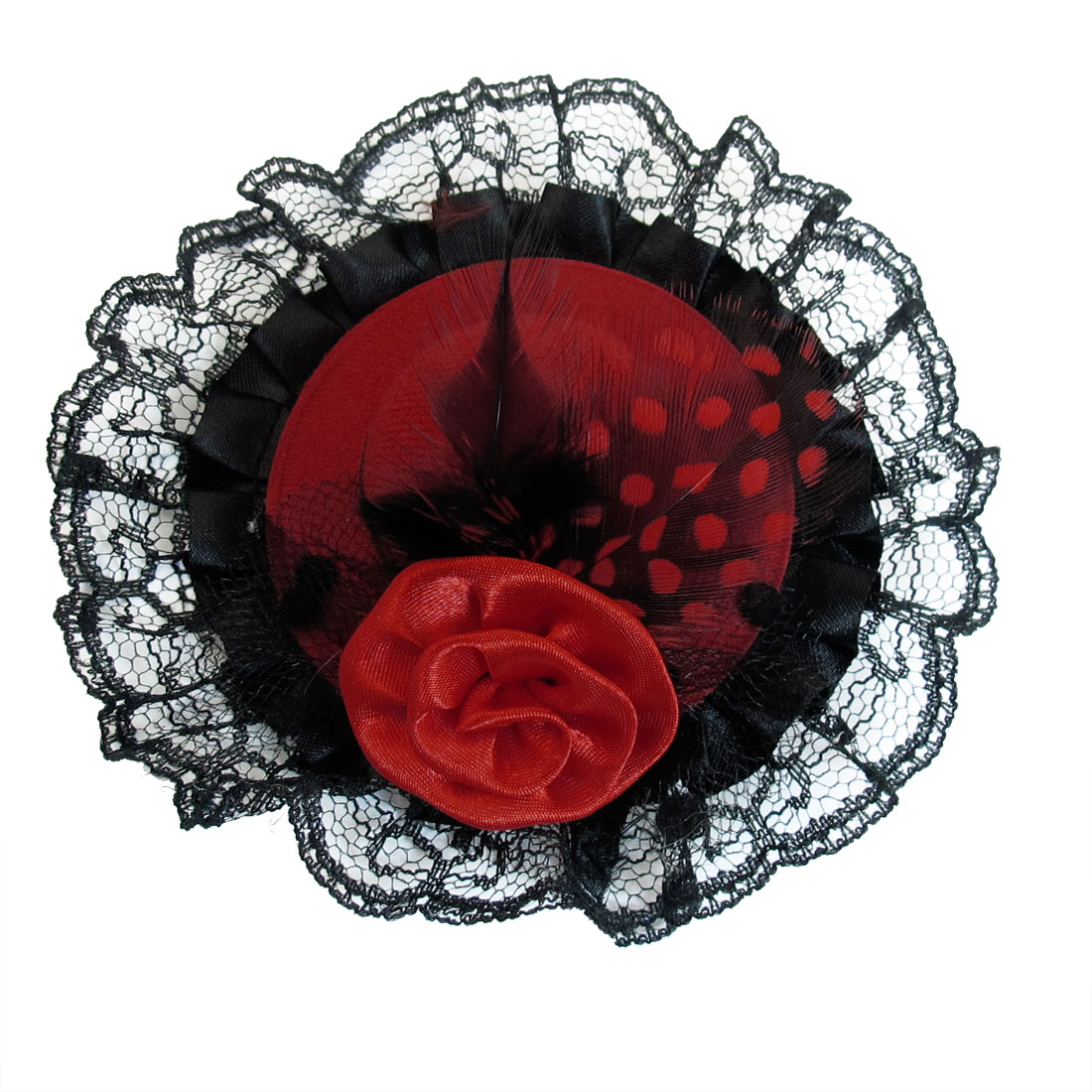 Girls Flower Rose Faux Feather Decoration Mini Top Hat Hair Clip Red Black