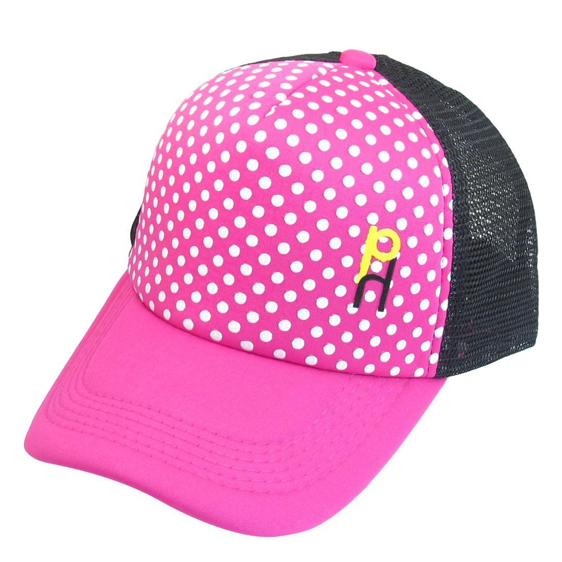 Fuchsia Black Mesh Dotted Print Adjustable Strap Sun Visor Hat Cap for Women