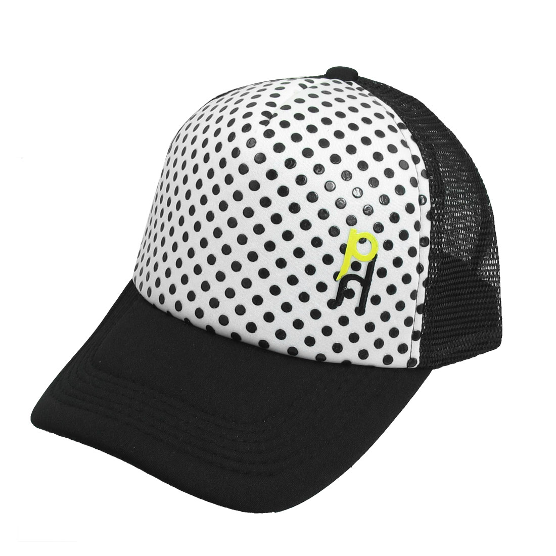 Unisex White Black Dots Printed Meshy Back Adjustable Strap Hat Sun Visor Cap