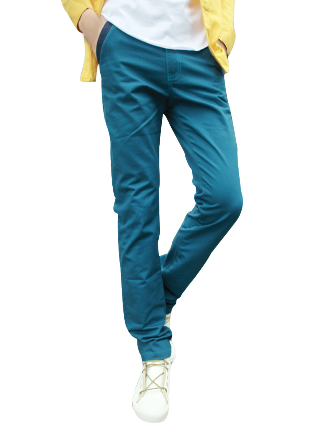 Men Waistband Loop Pockets Buttoned Closure Casual Pants Blue W32