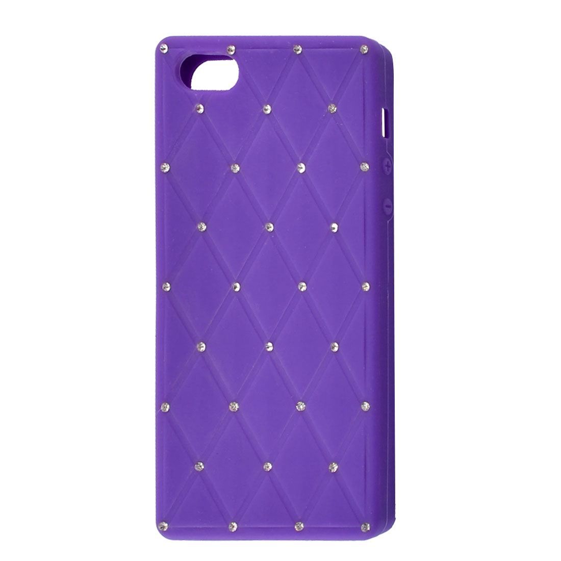 Purple Soft Silicone Faux Rhinestone Decor Shield Cover Case for iPhone 5 5G
