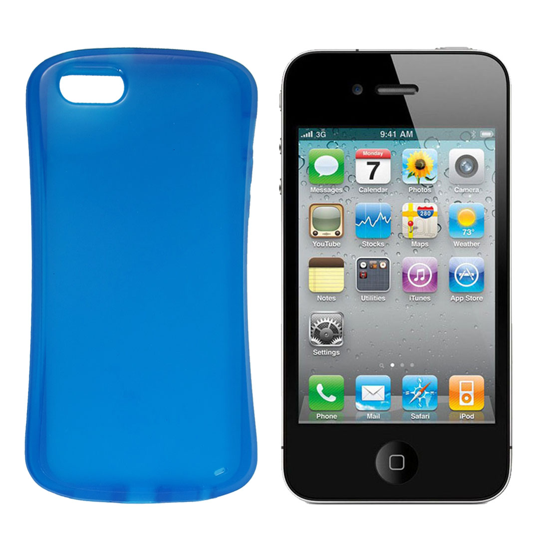 Blue Soft Plastic TPU Cover Shell Case for iPhone 5 5G
