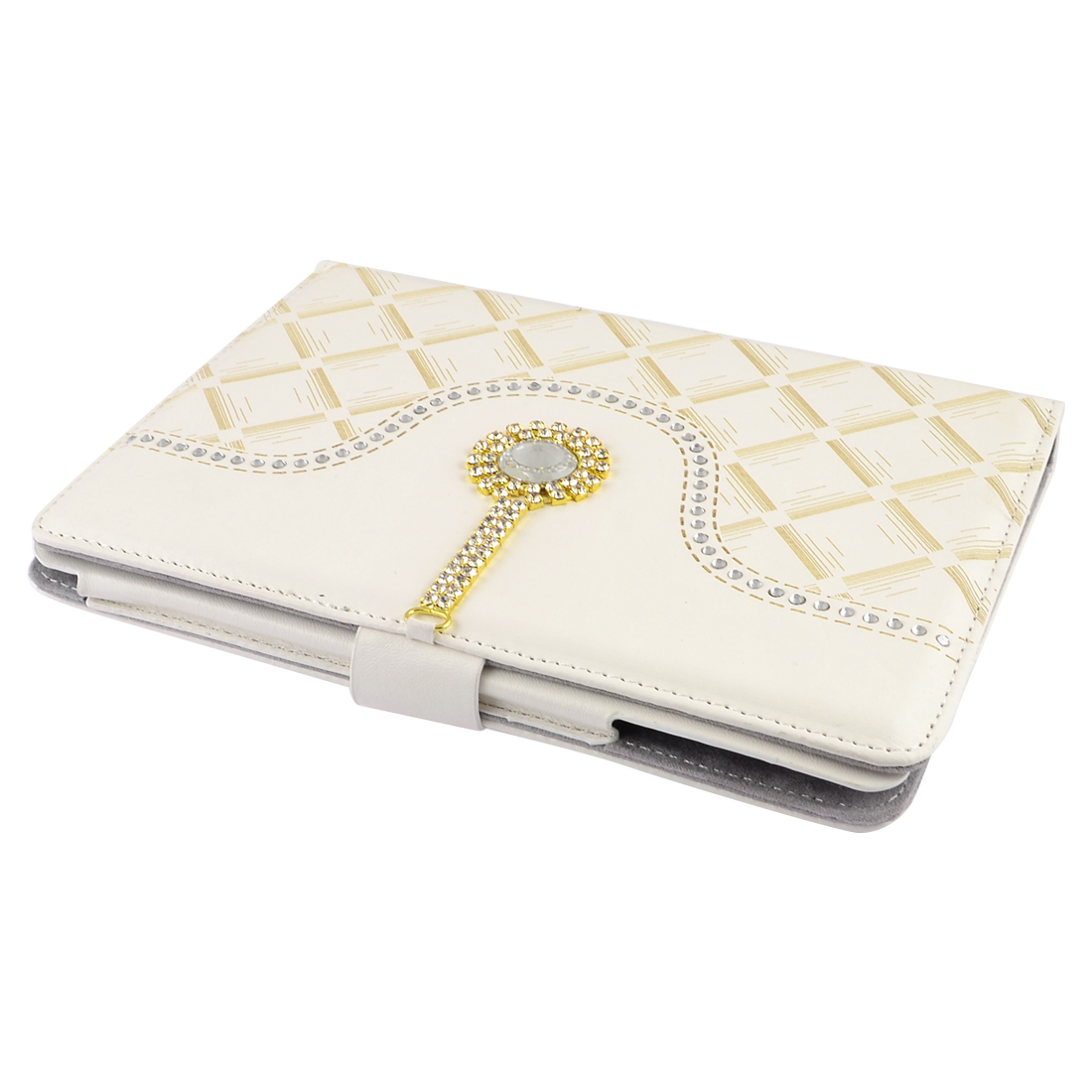 Rhombus Ivory Rhinestones Decor Flip Stand Case Cover Pouch for iPad Mini
