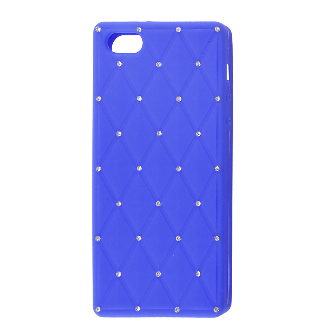 Royal Blue Soft Silicone Faux Rhinestone Decor Shield Cover Case for iPhone 5 5G