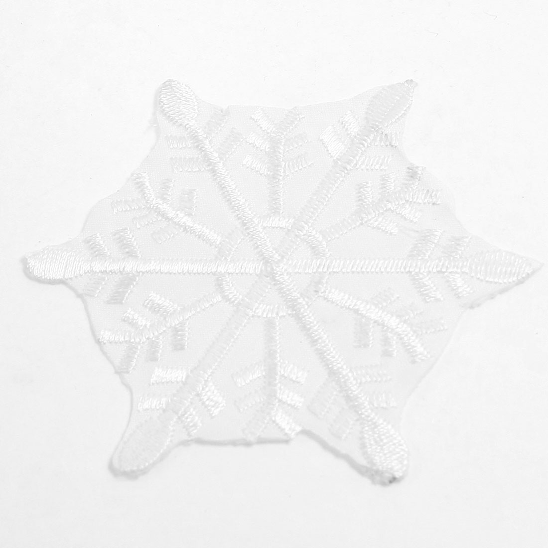 White Snowflake Design Iron On Fabric Embroiderey Sticker Decoration