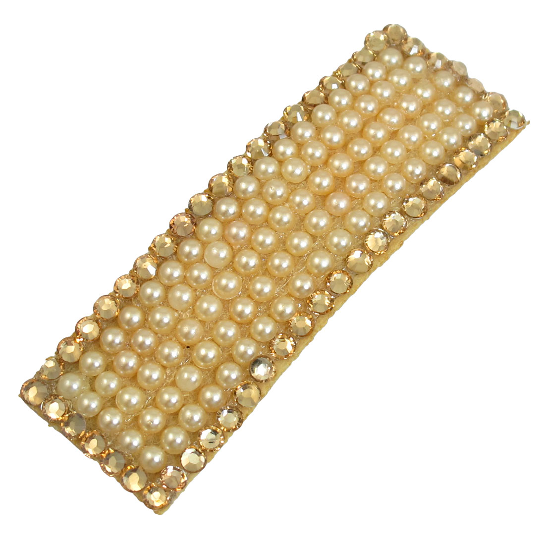 Khaki Faux Pearl Rhinestone Hem Decor Black Metal Hair Clip for Ladies