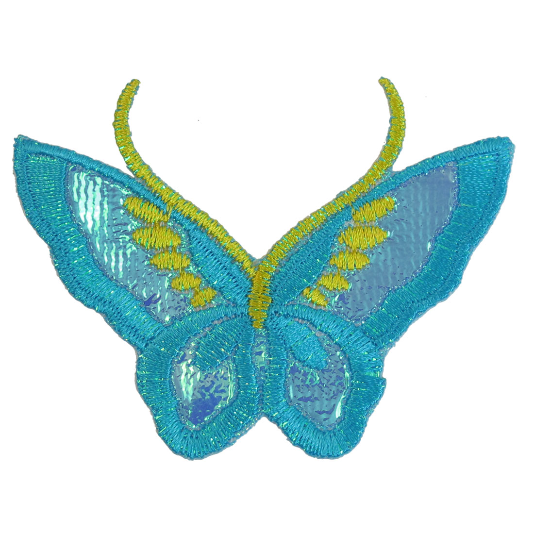 Reflective Blue Yellow Butterfly Shaped Embroidered Iron On Applique Patch