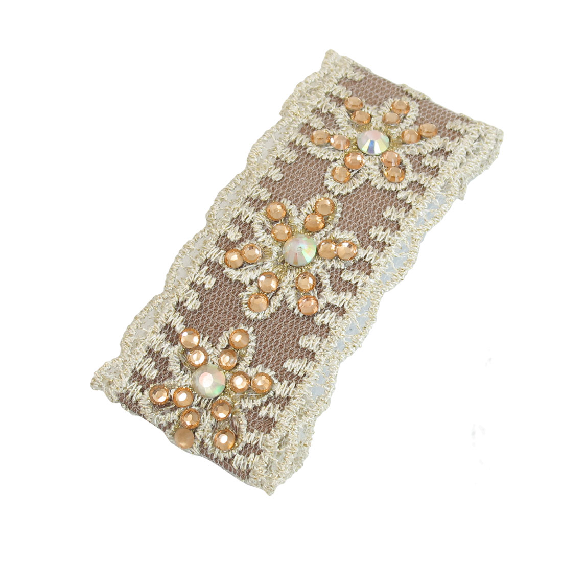 Lace Rhinestone Floral Detail Ladies Brown Metal Barrette Hair Clip