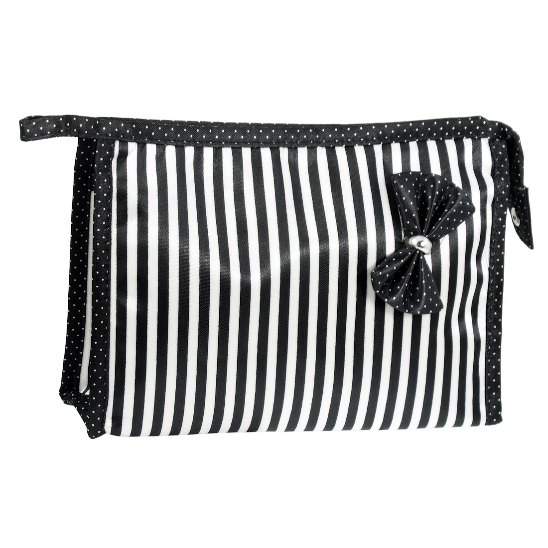 Black White Stripe Dots Pattern Bowknot Zippered Cosmetic Bag