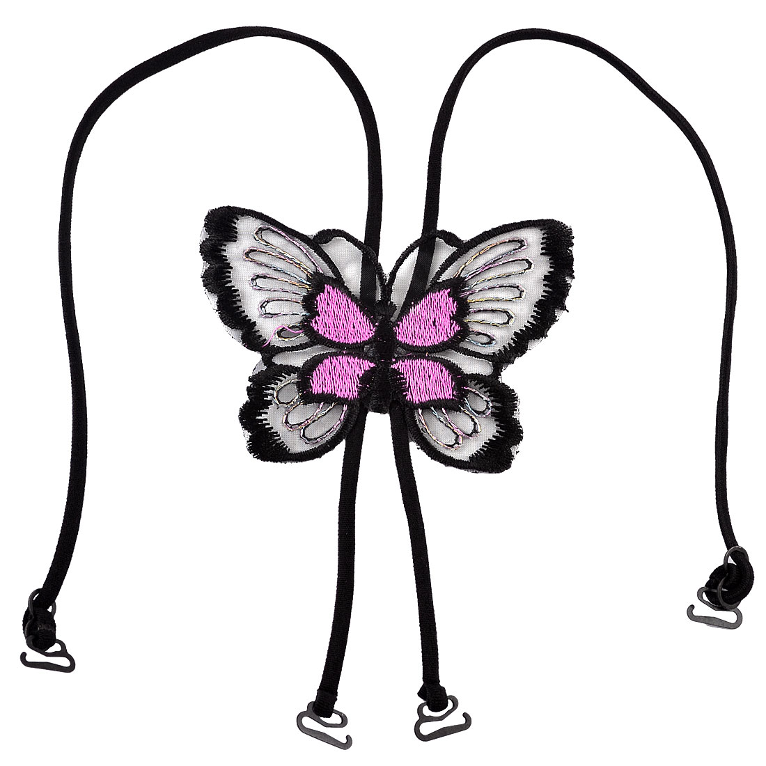 Cross Back Pink Black Butterfly Bra Shoulder Stretchy Strap for Woman