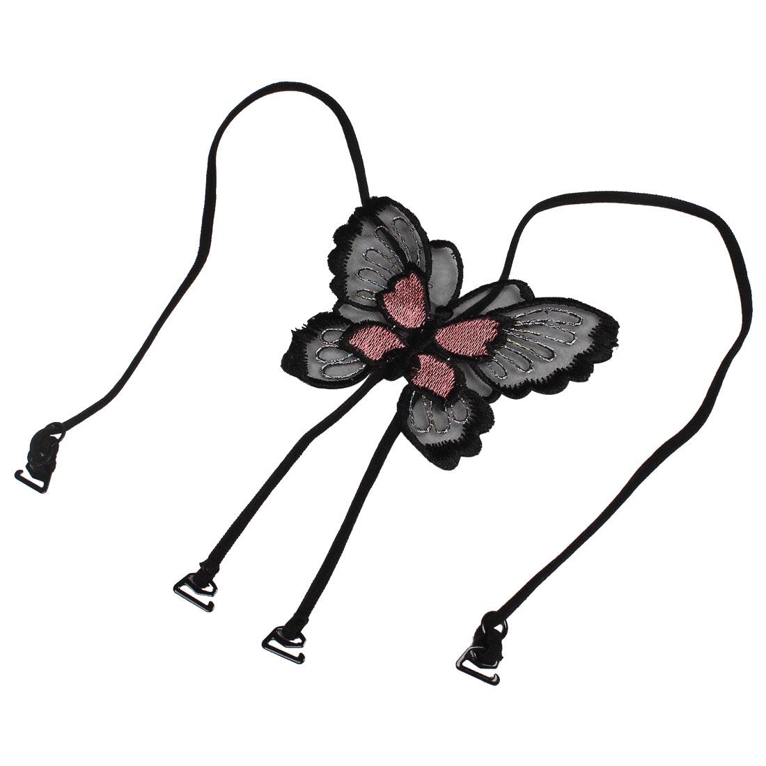Slim Band Butterfly Shape Cross Back Bra Shoulder Straps Black Pink for Women