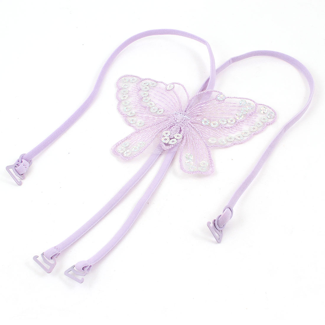 Slim Band Butterfly Shape Cross Back Bra Shoulder Straps Light Purple for Women