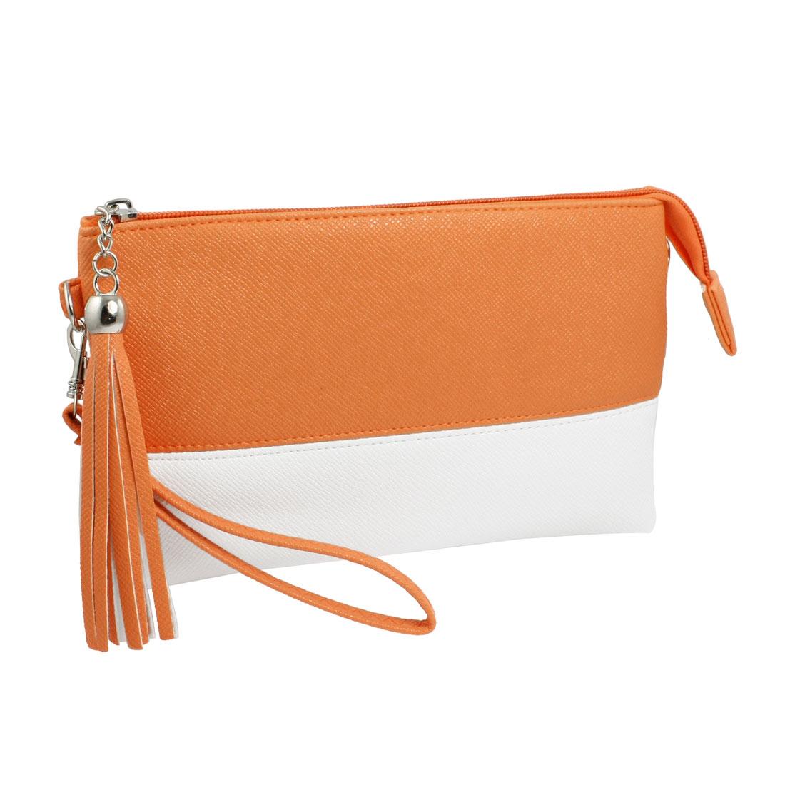Snake Pattern Faux Leather Tassel Zip up Pocket Card Slots Wallet Purse Red White
