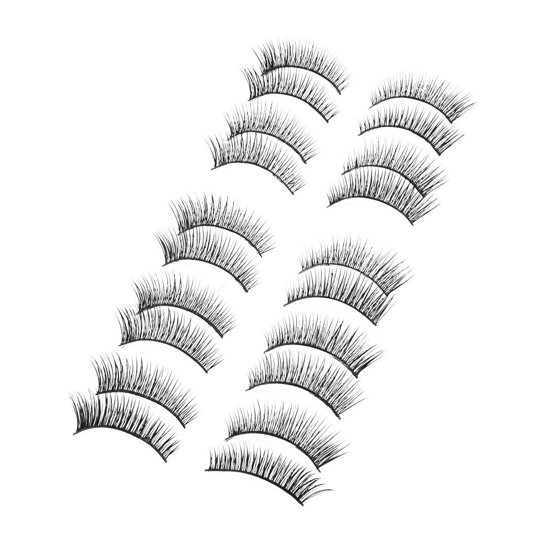Ladies Nylon Big Eyes Cosmetic Thick Curly Lashes False Eyelashes Black 10 Pairs