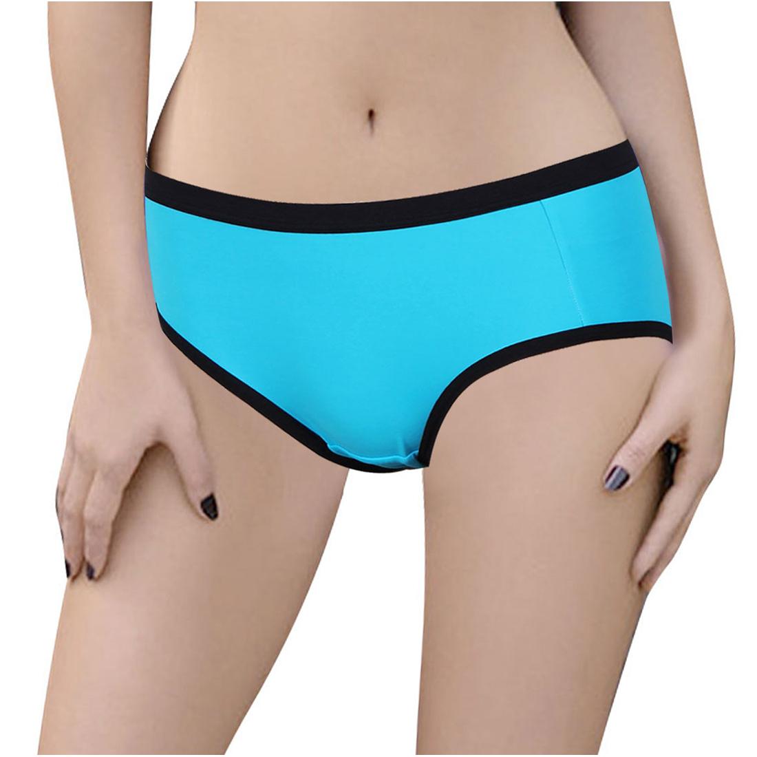 Women Elastic Waist Low Rise Underwear Briefs Sky Blue Black XS