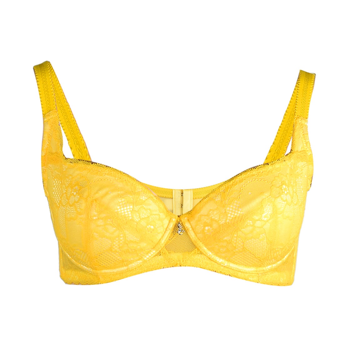 Women Full Cover Lace Cup Push Up Underwear Underwired Bra Yellow AU 12B