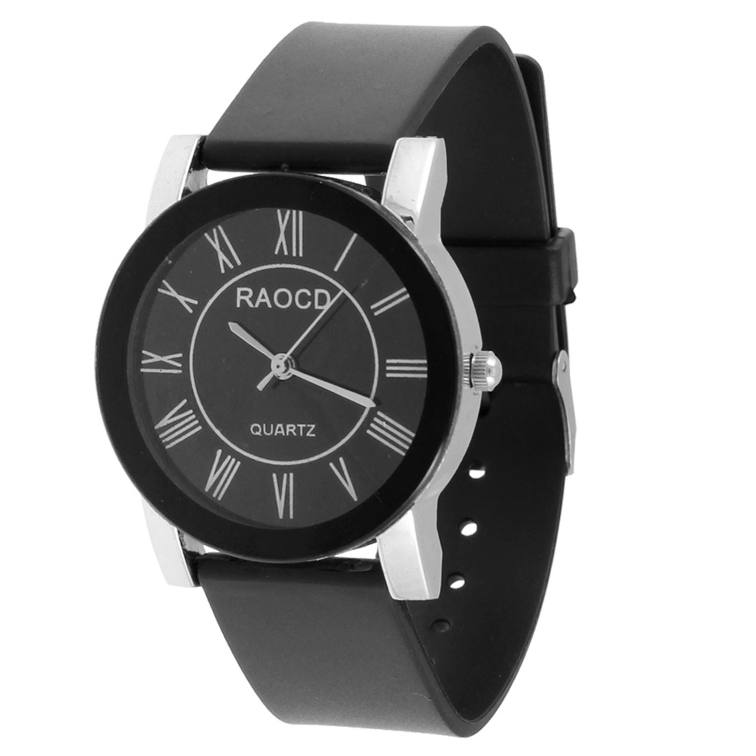 Black Faux Leather Adjustable Band White Numbers Display Watch for Women Girl