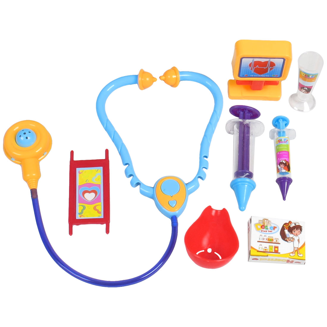 8 in 1 Plastic Stethoscope Stretcher Emulational Doctor Tools Toy for Children