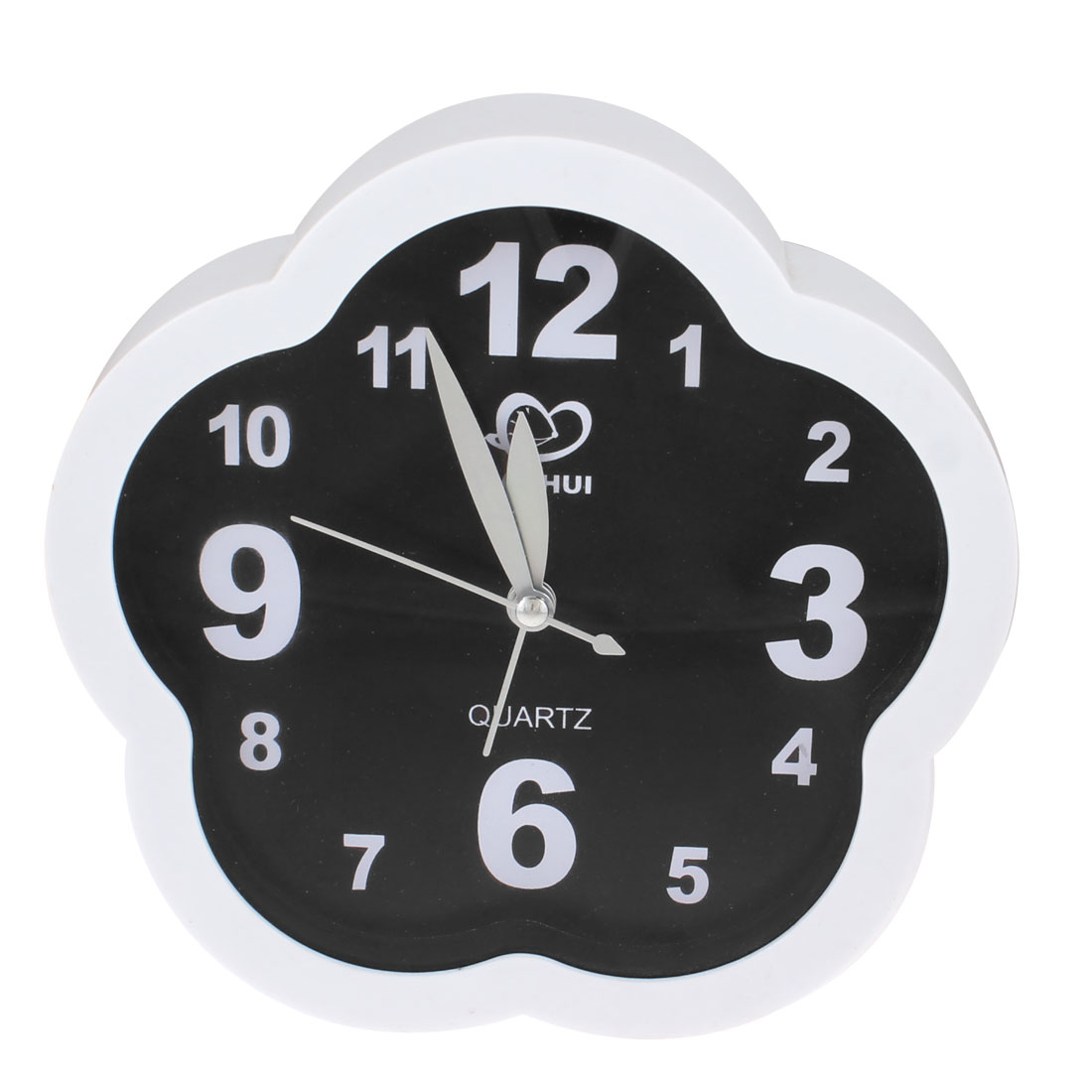 Home Bedroom Black White Flower Shape Glass Dial Desk Clock