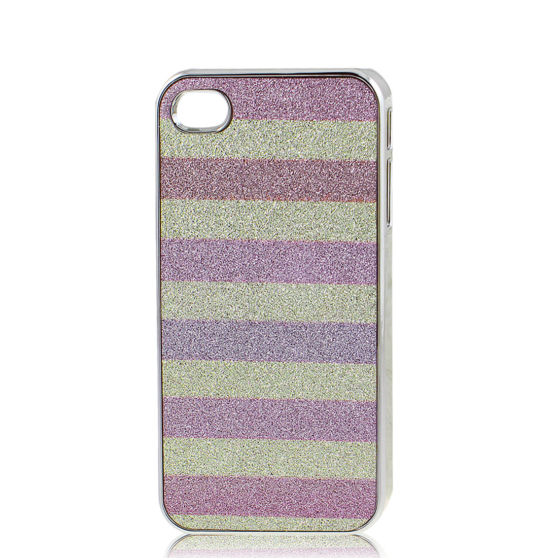 Colorful Stripes Pattern Shiny Hard Plastic Back Case Cover for iPhone 4 4G