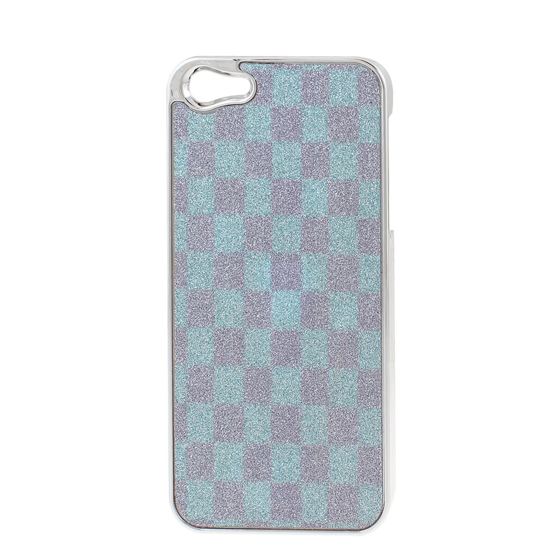 Blue Pink Check Pattern Bling Hard Plastic Back Case Cover for iPhone 5 5G