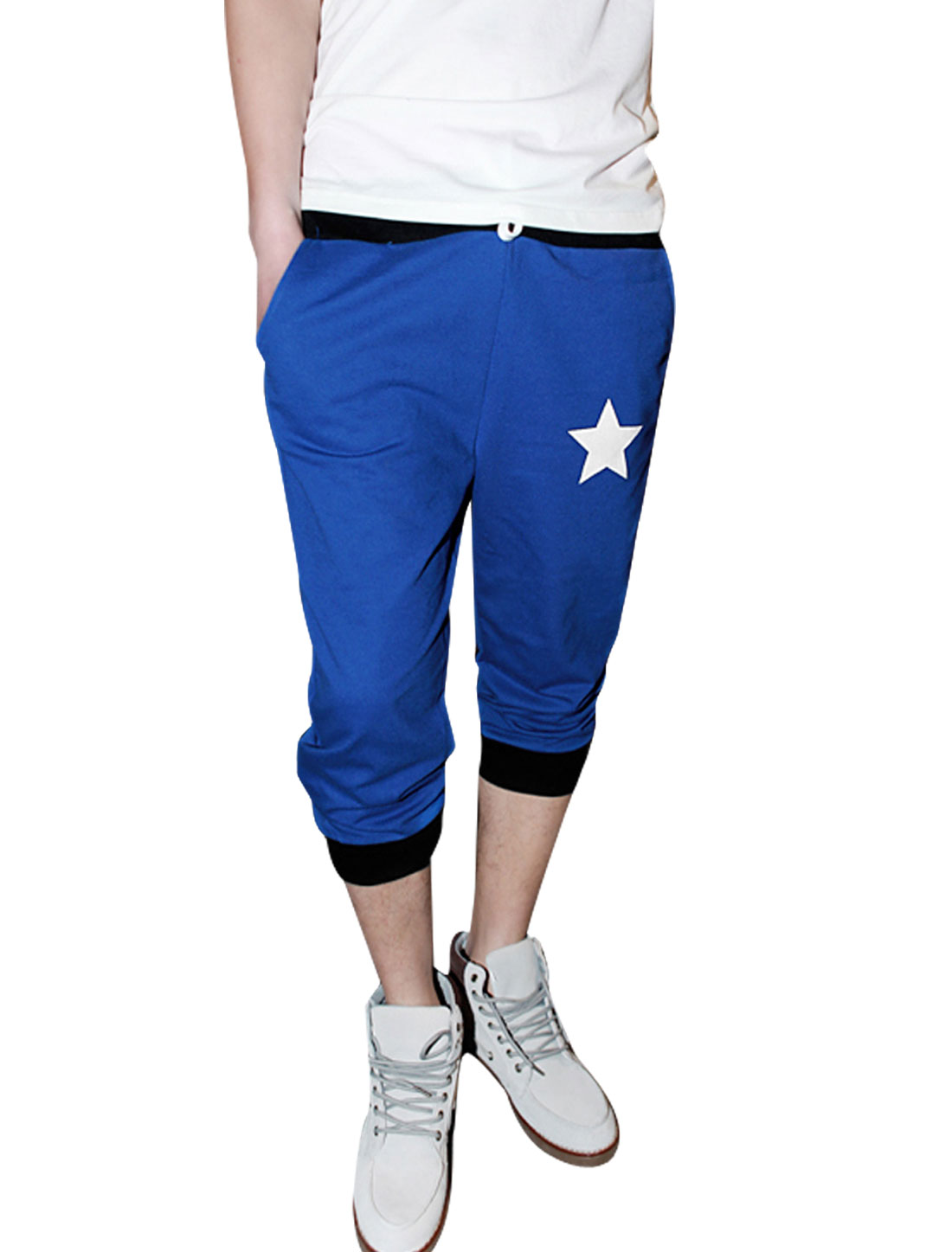 Man Letters Stars Prints Drawstring Modern Capris Trousers Royal Blue W32