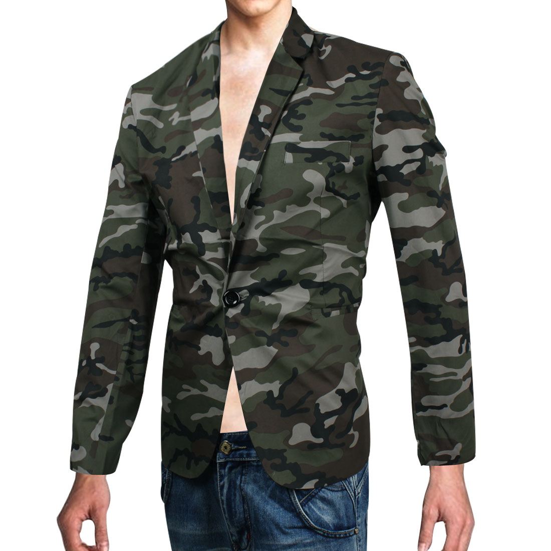 Man Descruption Pattern Padding Long-sleeved Lining Military Blazer Army Green M