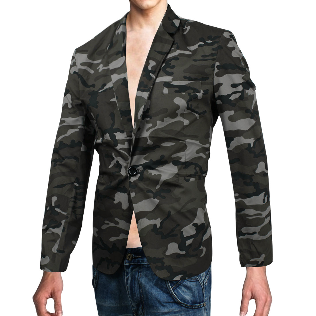 Man Pockets Camouflage Pattern Buttons Cuff Wadding Shoulder Blazer Dark Olive Green M